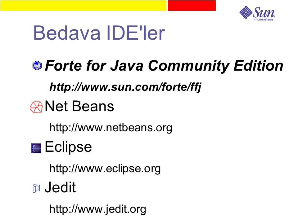 Bedava IDE ler ● Forte for Java Community Edition http://www.sun.com/forte/ffj ● Net Beans http://www.netbeans.org ● Eclipse http://www.eclipse.org ● Jedit http://www.jedit.org