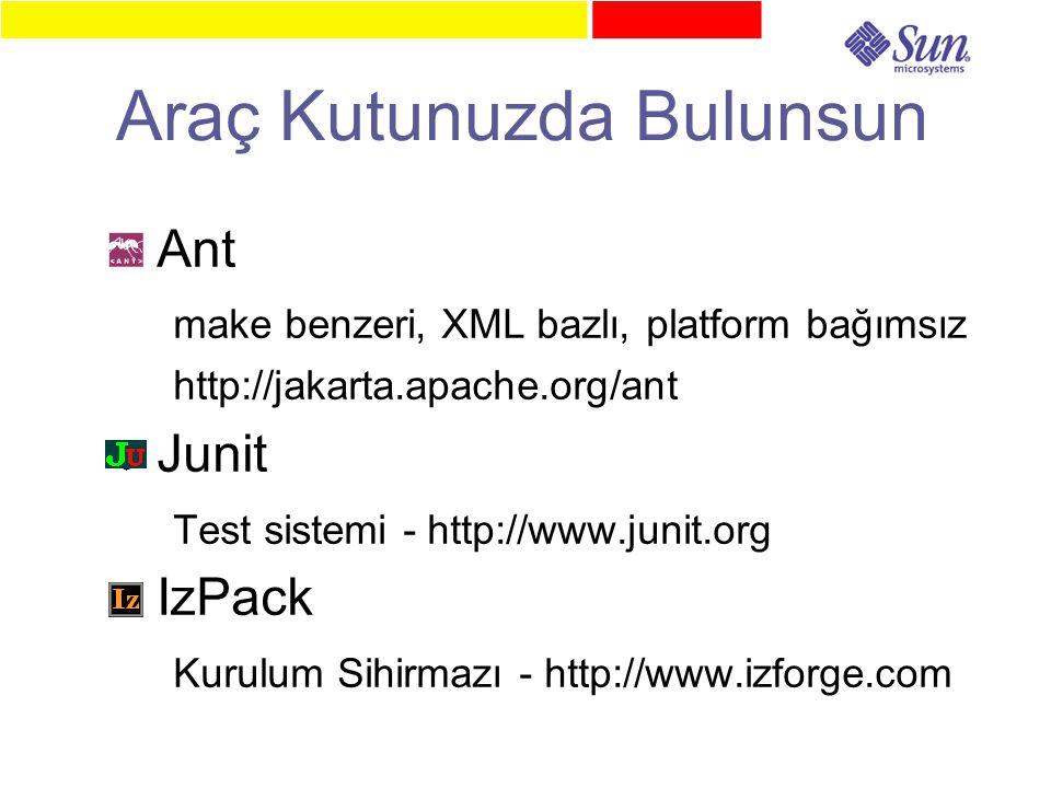 Araç Kutunuzda Bulunsun ● Ant make benzeri, XML bazlı, platform bağımsız http://jakarta.apache.org/ant ● Junit Test sistemi - http://www.junit.org ● IzPack Kurulum Sihirmazı - http://www.izforge.com