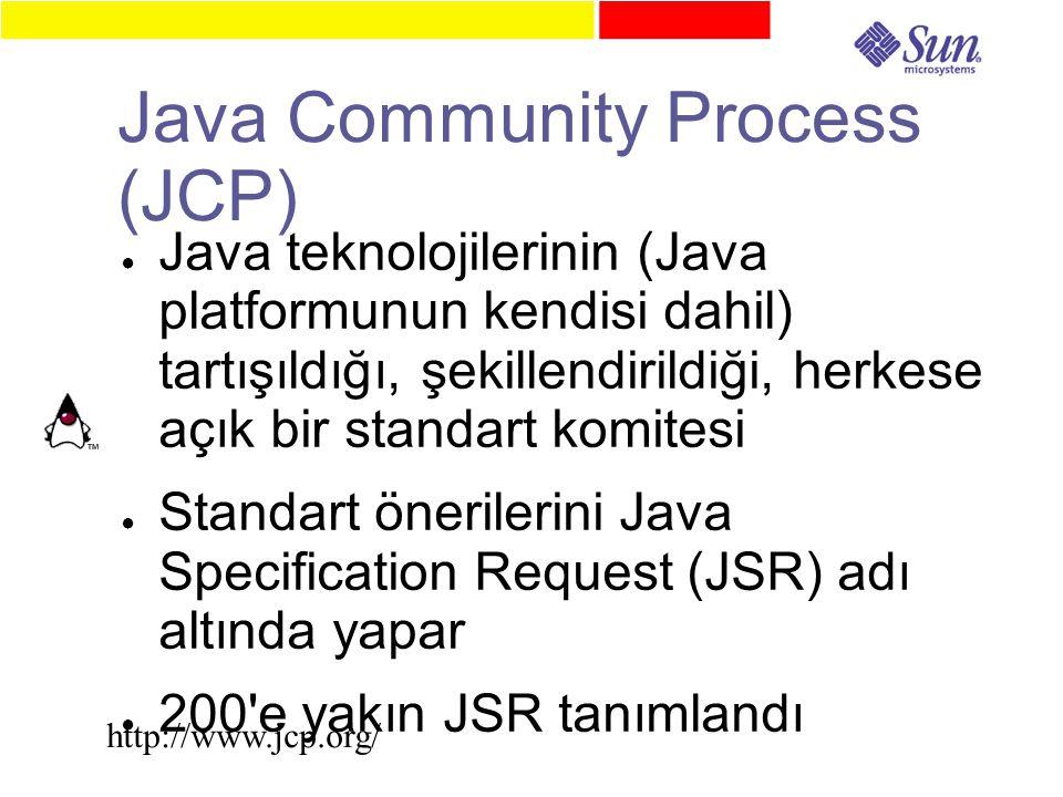 Java Community Process (JCP) ● Java teknolojilerinin (Java platformunun kendisi dahil) tartışıldığı, şekillendirildiği, herkese açık bir standart komitesi ● Standart önerilerini Java Specification Request (JSR) adı altında yapar ● 200 e yakın JSR tanımlandı http://www.jcp.org/
