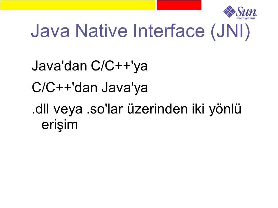 Java Native Interface (JNI) Java dan C/C++ ya C/C++ dan Java ya.dll veya.so lar üzerinden iki yönlü erişim
