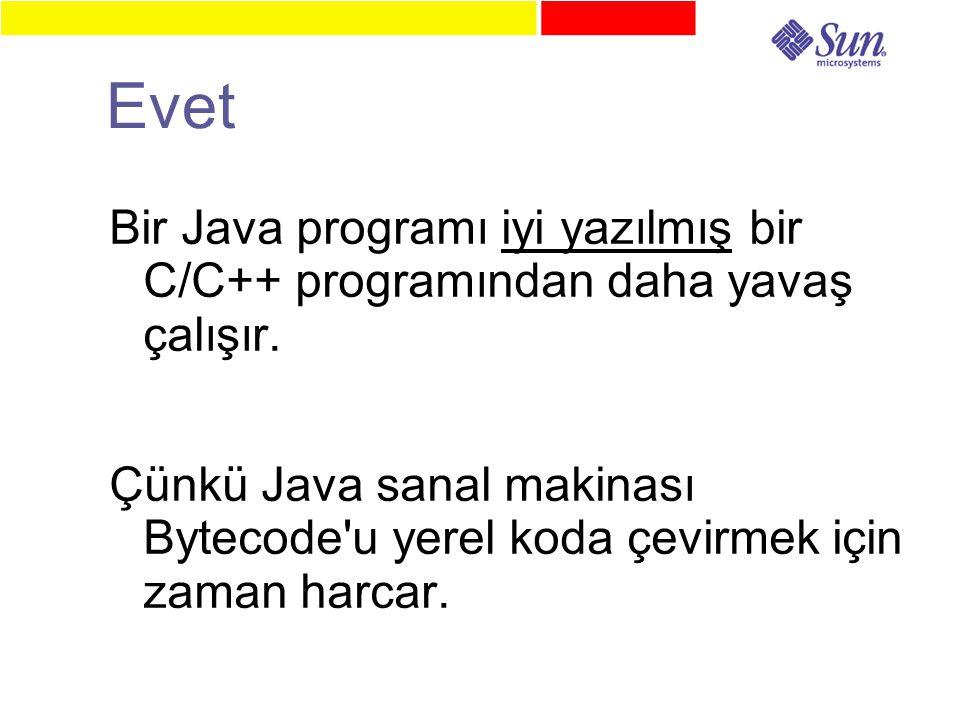 Evet Bir Java programı iyi yazılmış bir C/C++ programından daha yavaş çalışır.