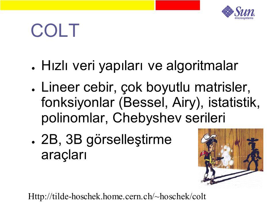 COLT ● Hızlı veri yapıları ve algoritmalar ● Lineer cebir, çok boyutlu matrisler, fonksiyonlar (Bessel, Airy), istatistik, polinomlar, Chebyshev serileri ● 2B, 3B görselleştirme araçları Http://tilde-hoschek.home.cern.ch/~hoschek/colt