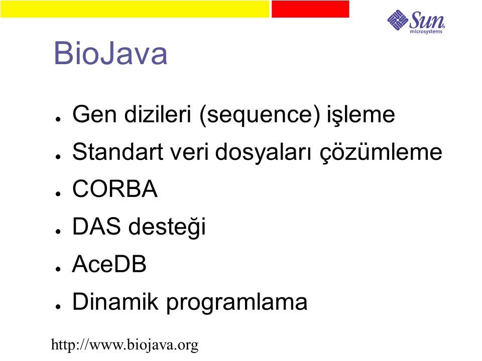 BioJava ● Gen dizileri (sequence) işleme ● Standart veri dosyaları çözümleme ● CORBA ● DAS desteği ● AceDB ● Dinamik programlama http://www.biojava.org