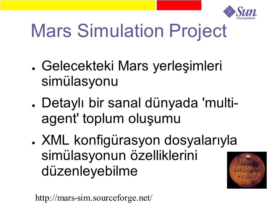 Mars Simulation Project ● Gelecekteki Mars yerleşimleri simülasyonu ● Detaylı bir sanal dünyada multi- agent toplum oluşumu ● XML konfigürasyon dosyalarıyla simülasyonun özelliklerini düzenleyebilme http://mars-sim.sourceforge.net/
