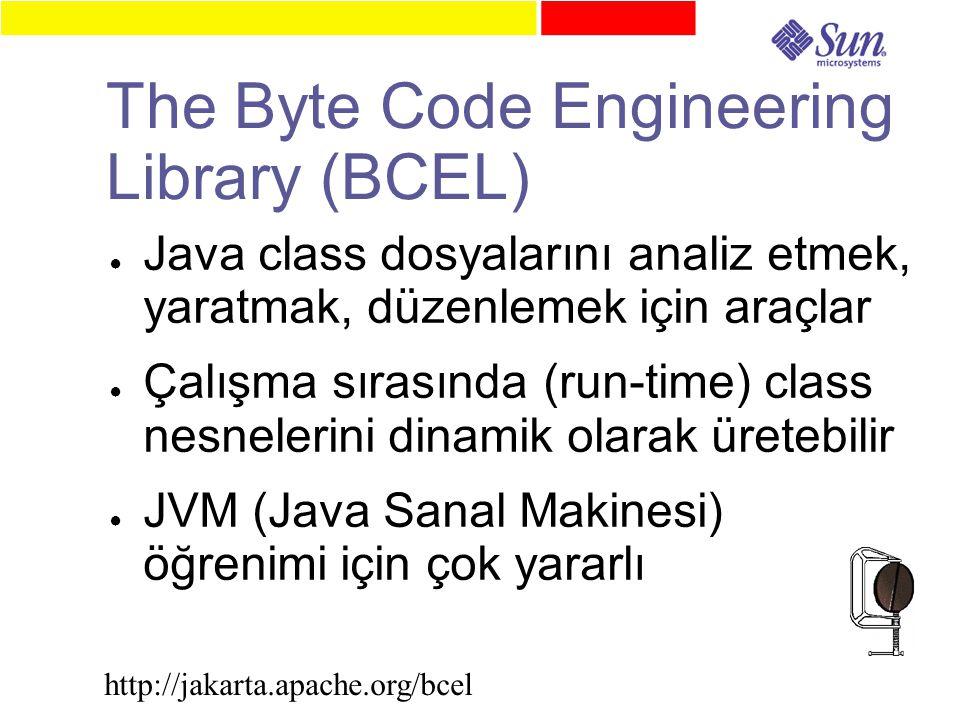 The Byte Code Engineering Library (BCEL) ● Java class dosyalarını analiz etmek, yaratmak, düzenlemek için araçlar ● Çalışma sırasında (run-time) class nesnelerini dinamik olarak üretebilir ● JVM (Java Sanal Makinesi) öğrenimi için çok yararlı http://jakarta.apache.org/bcel