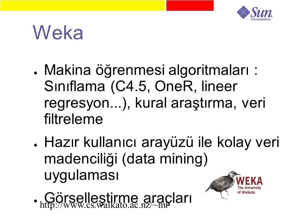 Weka ● Makina öğrenmesi algoritmaları : Sınıflama (C4.5, OneR, lineer regresyon...), kural araştırma, veri filtreleme ● Hazır kullanıcı arayüzü ile kolay veri madenciliği (data mining) uygulaması ● Görselleştirme araçları http://www.cs.waikato.ac.nz/~ml