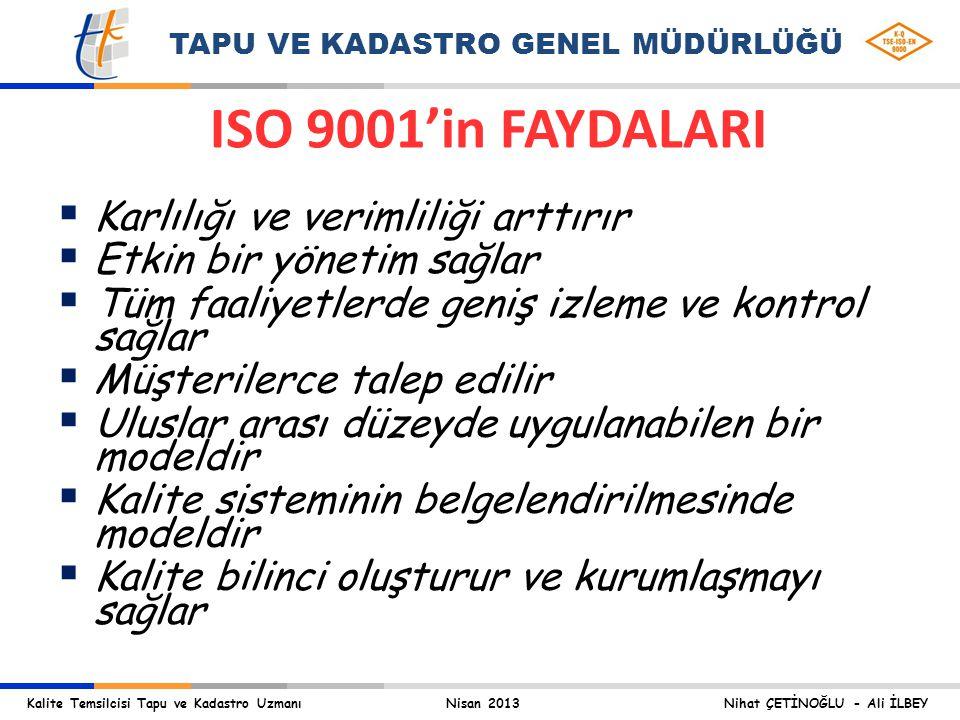 Kalite Temsilcisi Tapu ve Kadastro Uzmanı Nisan 2013 Nihat ÇETİNOĞLU - Ali İLBEY TAPU VE KADASTRO GENEL MÜDÜRLÜĞÜ ISO 9001'in FAYDALARI § Karlılığı ve