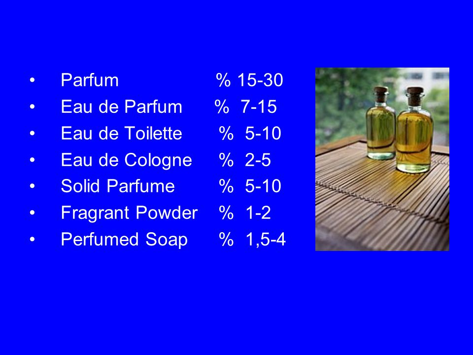 Parfum % 15-30 Eau de Parfum % 7-15 Eau de Toilette% 5-10 Eau de Cologne% 2-5 Solid Parfume% 5-10 Fragrant Powder% 1-2 Perfumed Soap% 1,5-4