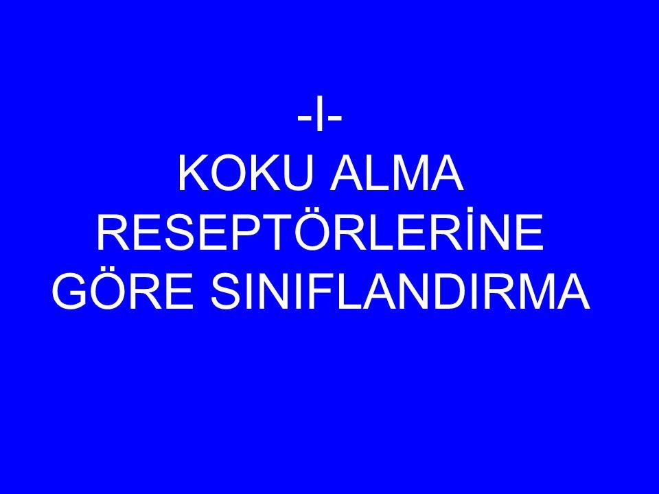 -I- KOKU ALMA RESEPTÖRLERİNE GÖRE SINIFLANDIRMA
