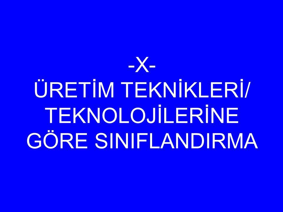 -X- ÜRETİM TEKNİKLERİ/ TEKNOLOJİLERİNE GÖRE SINIFLANDIRMA