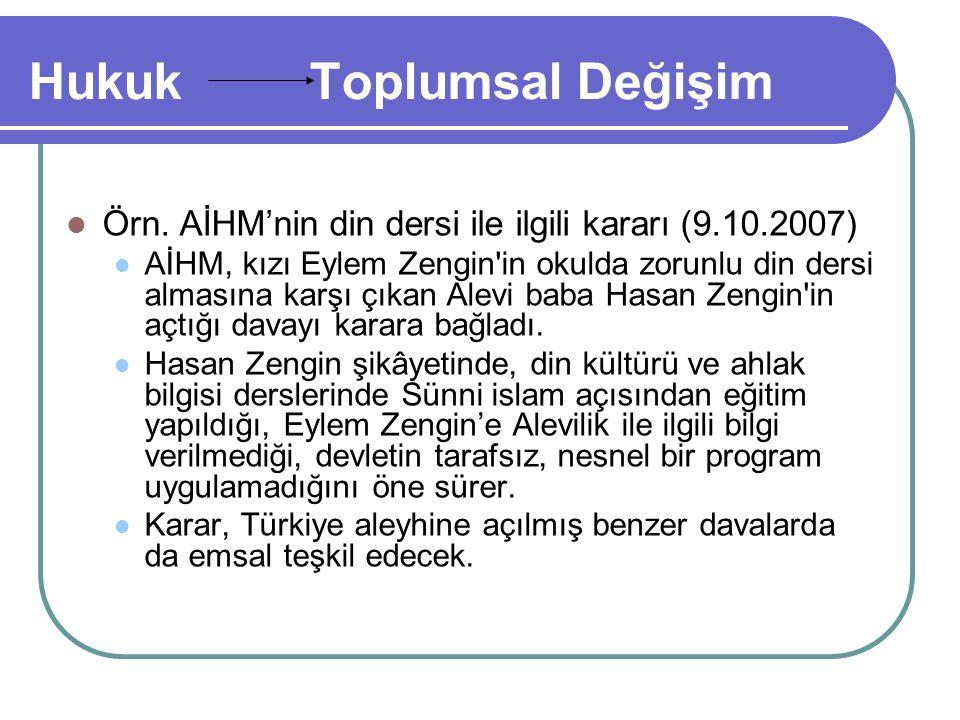Hukuk Toplumsal Değişim Örn. AİHM'nin din dersi ile ilgili kararı (9.10.2007) AİHM, kızı Eylem Zengin'in okulda zorunlu din dersi almasına karşı çıkan