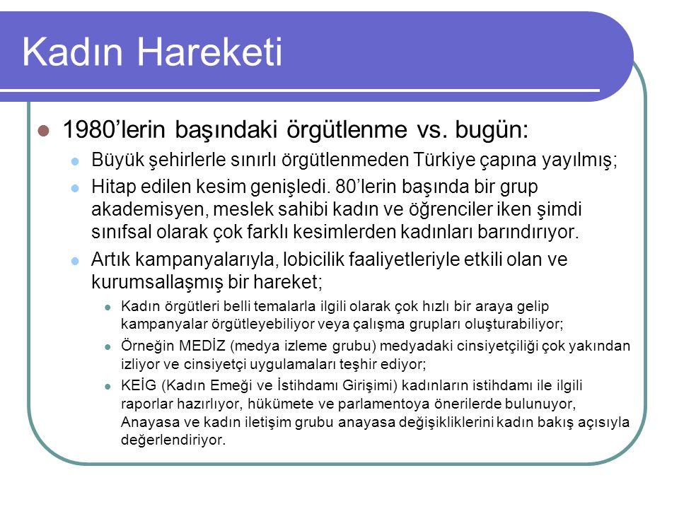 Kadın Hareketi 1980'lerin başındaki örgütlenme vs. bugün: Büyük şehirlerle sınırlı örgütlenmeden Türkiye çapına yayılmış; Hitap edilen kesim genişledi