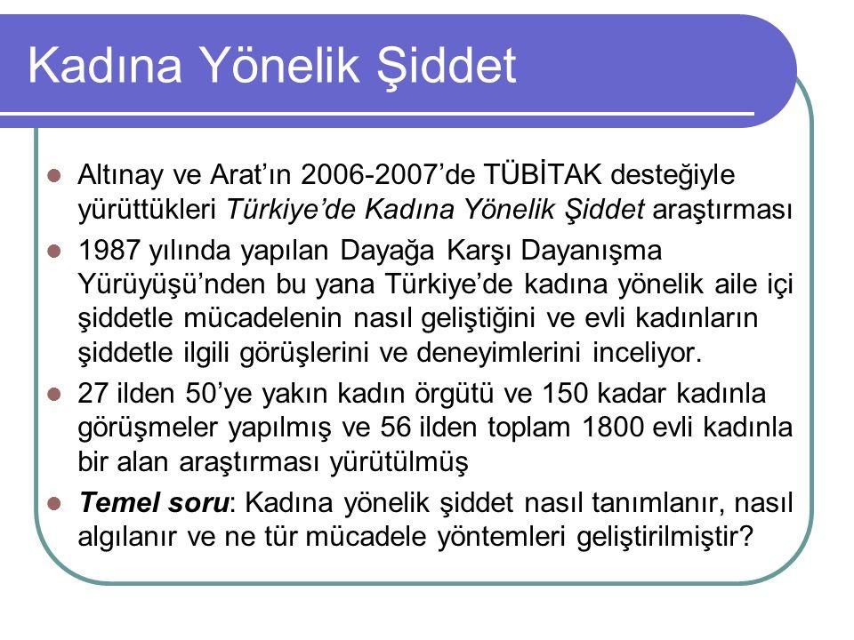 Kadına Yönelik Şiddet Altınay ve Arat'ın 2006-2007'de TÜBİTAK desteğiyle yürüttükleri Türkiye'de Kadına Yönelik Şiddet araştırması 1987 yılında yapıla