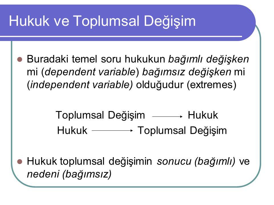 Hukuk ve Toplumsal Değişim Buradaki temel soru hukukun bağımlı değişken mi (dependent variable) bağımsız değişken mi (independent variable) olduğudur