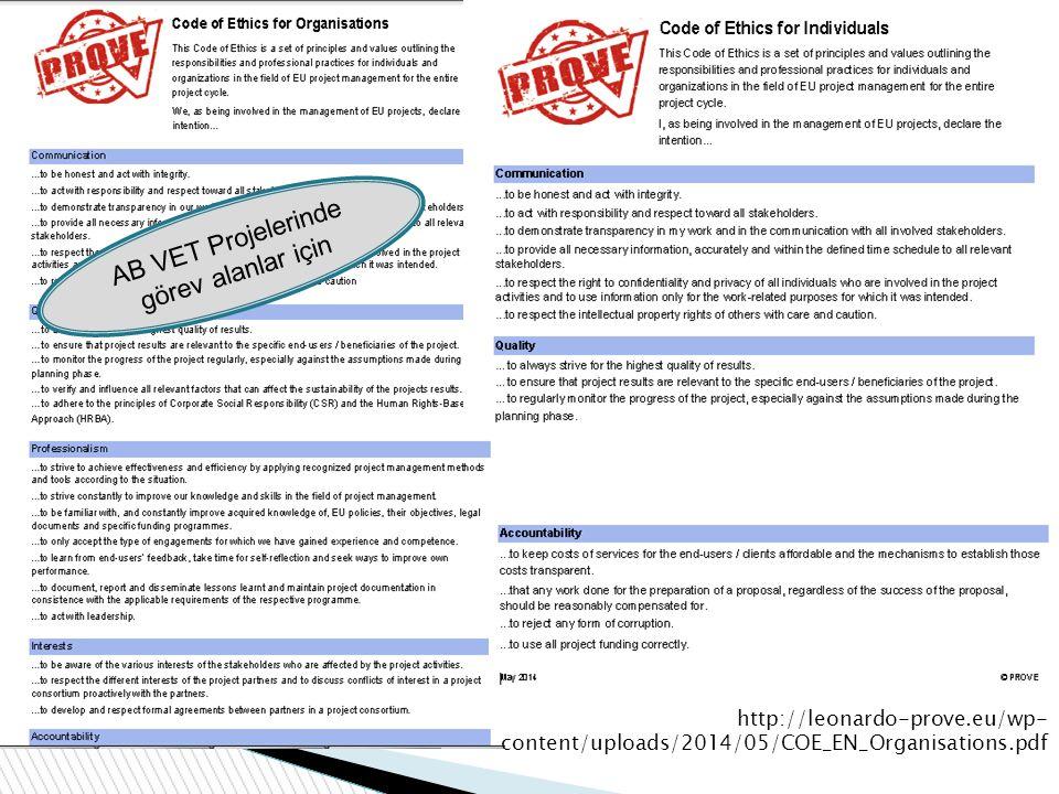 http://leonardo-prove.eu/wp- content/uploads/2014/05/COE_EN_Organisations.pdf AB VET Projelerinde görev alanlar için