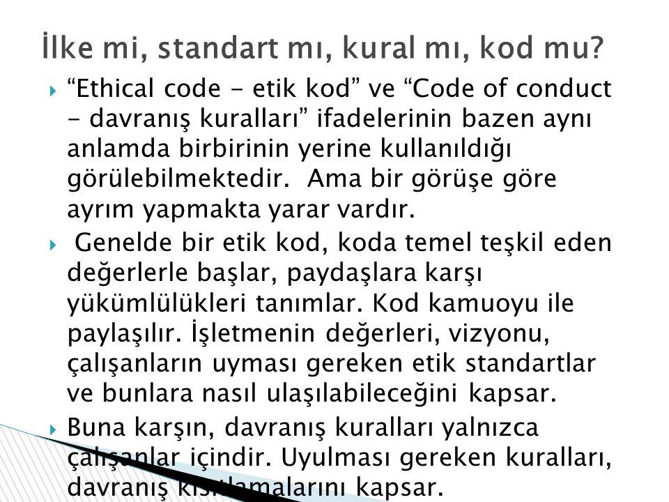""" """"Ethical code - etik kod"""" ve """"Code of conduct - davranış kuralları"""" ifadelerinin bazen aynı anlamda birbirinin yerine kullanıldığı görülebilmektedir"""