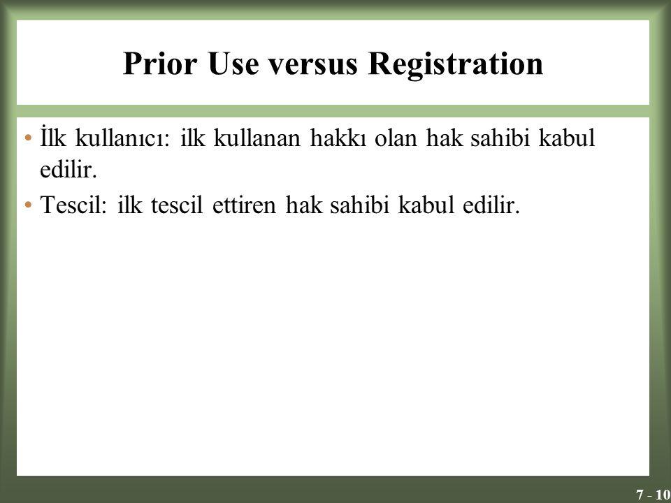 7 - 10 Prior Use versus Registration İlk kullanıcı: ilk kullanan hakkı olan hak sahibi kabul edilir.