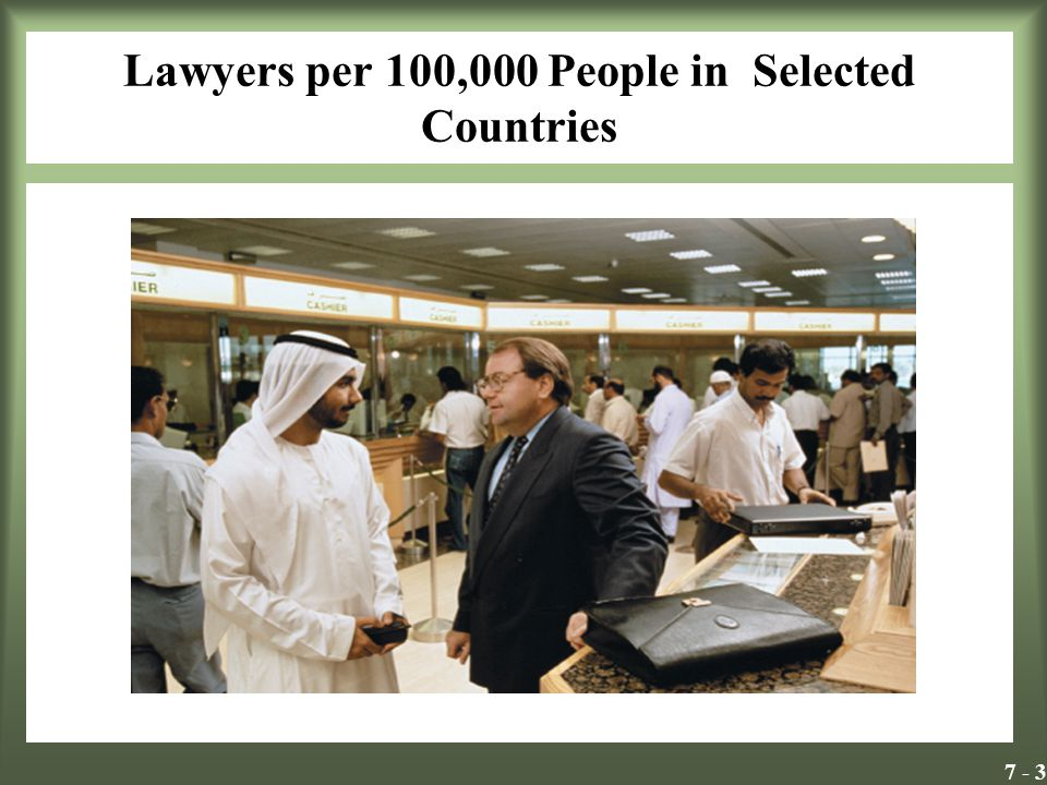 7 - 3 Lawyers per 100,000 People in Selected Countries Insert Exhibit 7.1