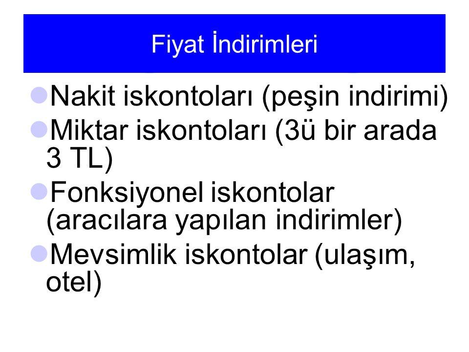 Fiyat İndirimleri Nakit iskontoları (peşin indirimi) Miktar iskontoları (3ü bir arada 3 TL) Fonksiyonel iskontolar (aracılara yapılan indirimler) Mevsimlik iskontolar (ulaşım, otel)