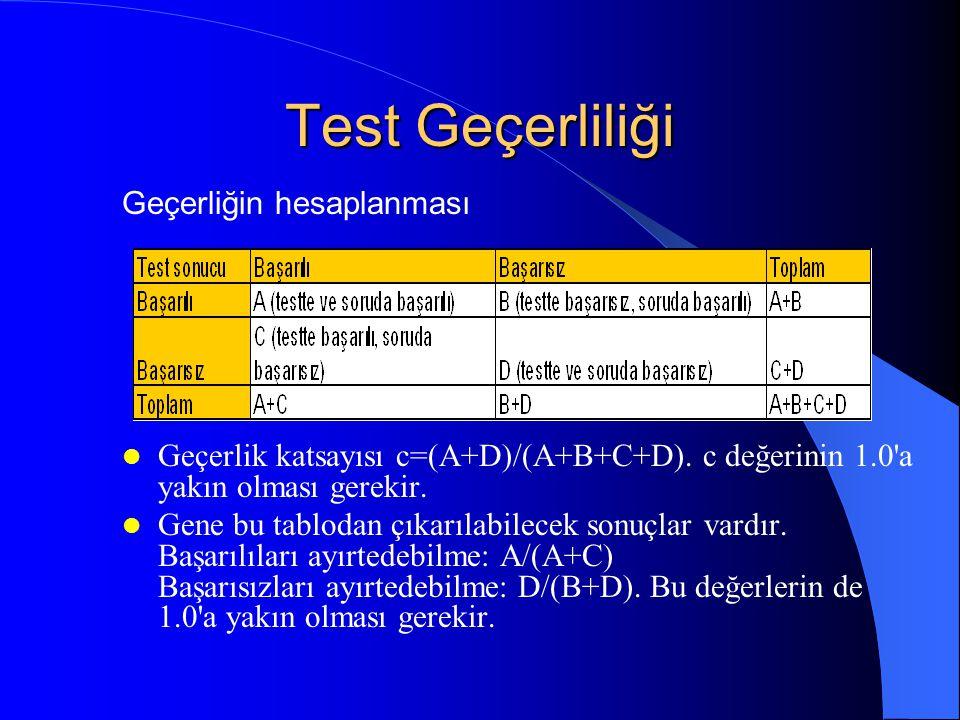 Test Geçerliliği Bir test geçerli olması için güvenilir olmak zorundadır. Güvenilir olan bir test her zaman geçerli sayılamaz. Geçerlilik gerekli ama