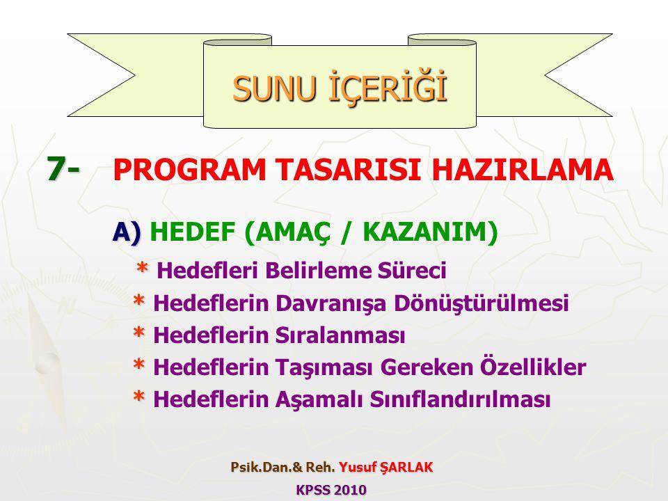 7- 7- PROGRAM TASARISI HAZIRLAMA A) A) HEDEF (AMAÇ / KAZANIM) * * Hedefleri Belirleme Süreci * * Hedeflerin Davranışa Dönüştürülmesi * * Hedeflerin Sı