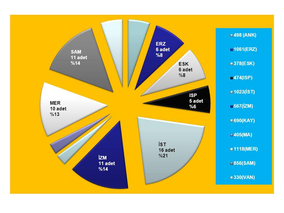 İST 16 adet %21 ERZ 6 adet %8