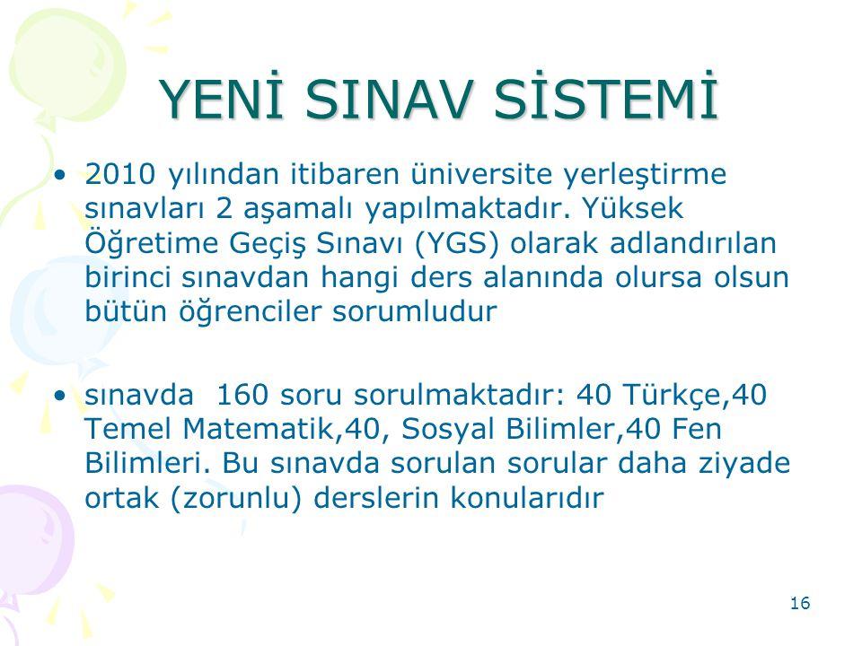 YENİ SINAV SİSTEMİ YENİ SINAV SİSTEMİ 2010 yılından itibaren üniversite yerleştirme sınavları 2 aşamalı yapılmaktadır. Yüksek Öğretime Geçiş Sınavı (Y