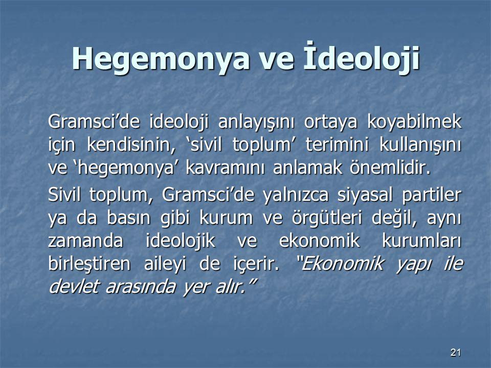 21 Hegemonya ve İdeoloji Gramsci'de ideoloji anlayışını ortaya koyabilmek için kendisinin, 'sivil toplum' terimini kullanışını ve 'hegemonya' kavramın