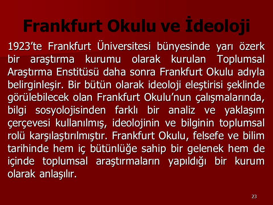 23 Frankfurt Okulu ve İdeoloji 1923'te Frankfurt Üniversitesi bünyesinde yarı özerk bir araştırma kurumu olarak kurulan Toplumsal Araştırma Enstitüsü