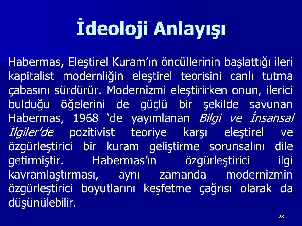 28 İdeoloji Anlayışı Habermas, Eleştirel Kuram'ın öncüllerinin başlattığı ileri kapitalist modernliğin eleştirel teorisini canlı tutma çabasını sürdür