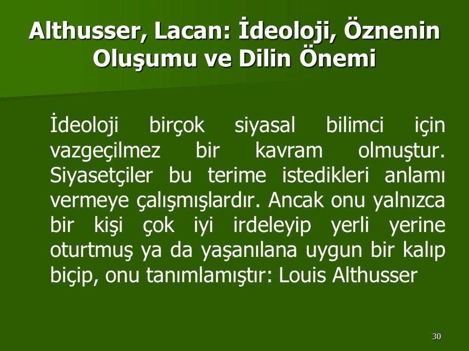 30 Althusser, Lacan: İdeoloji, Öznenin Oluşumu ve Dilin Önemi İdeoloji birçok siyasal bilimci için vazgeçilmez bir kavram olmuştur. Siyasetçiler bu te