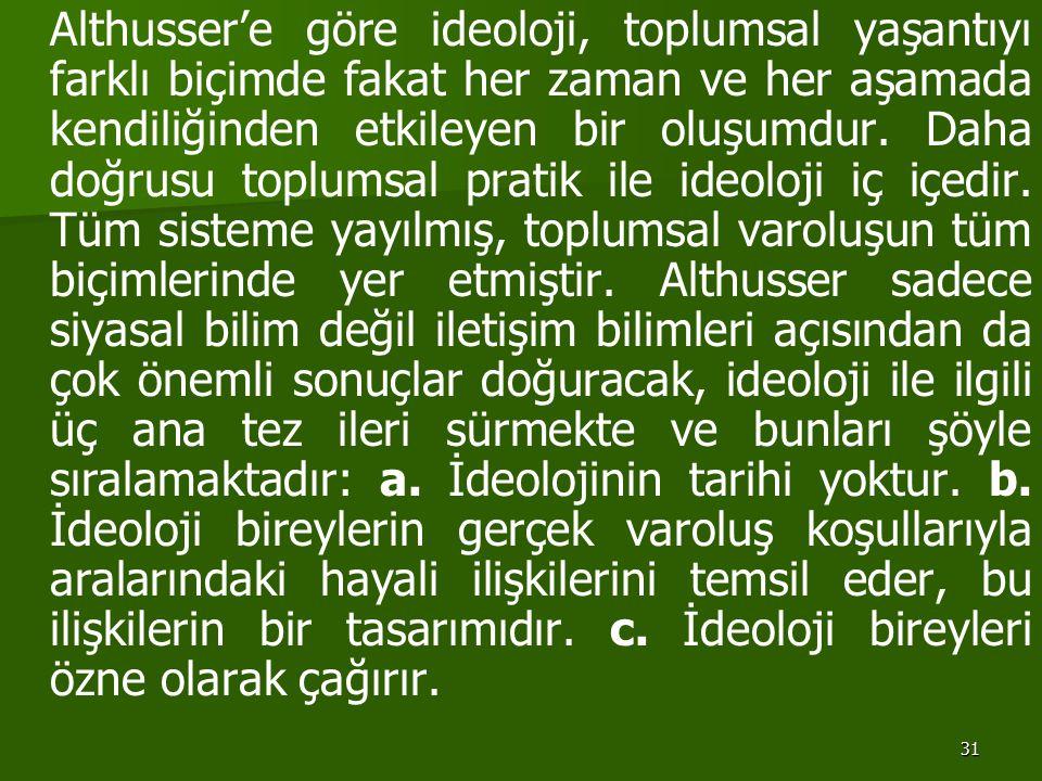 31 Althusser'e göre ideoloji, toplumsal yaşantıyı farklı biçimde fakat her zaman ve her aşamada kendiliğinden etkileyen bir oluşumdur. Daha doğrusu to