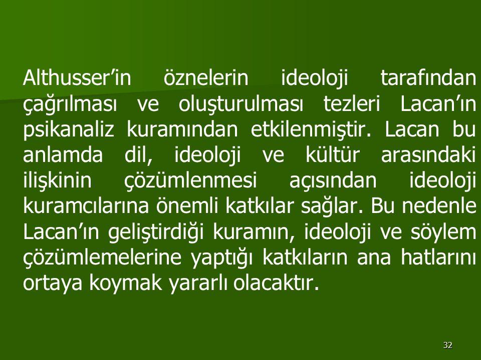 32 Althusser'in öznelerin ideoloji tarafından çağrılması ve oluşturulması tezleri Lacan'ın psikanaliz kuramından etkilenmiştir. Lacan bu anlamda dil,