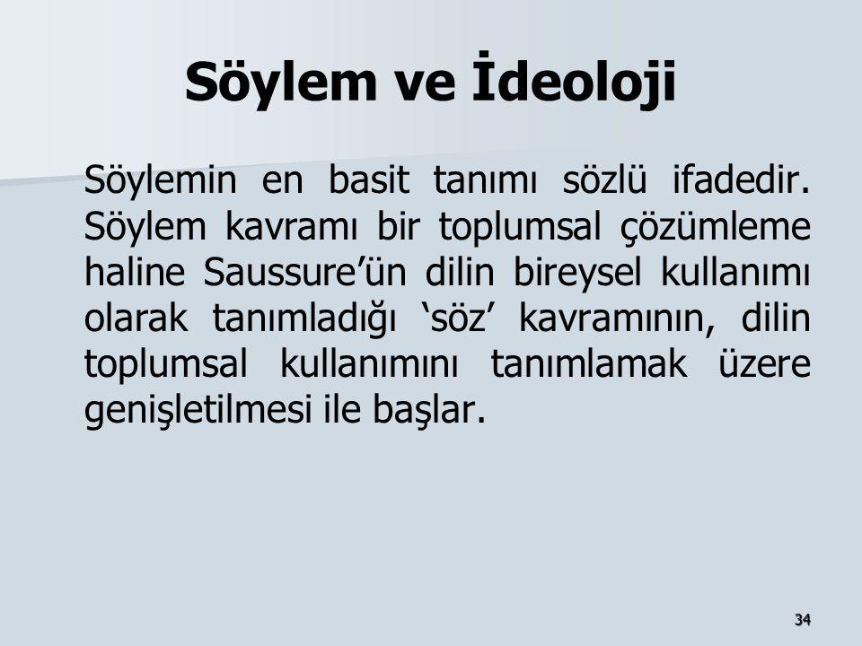 34 Söylem ve İdeoloji Söylemin en basit tanımı sözlü ifadedir. Söylem kavramı bir toplumsal çözümleme haline Saussure'ün dilin bireysel kullanımı olar