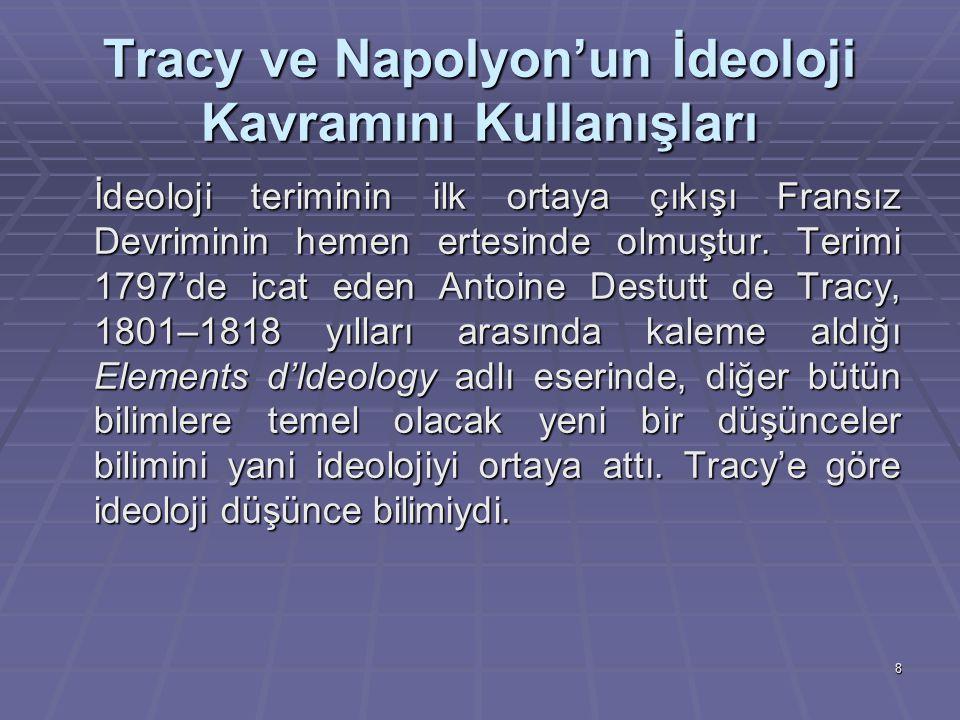 8 Tracy ve Napolyon'un İdeoloji Kavramını Kullanışları İdeoloji teriminin ilk ortaya çıkışı Fransız Devriminin hemen ertesinde olmuştur. Terimi 1797'd