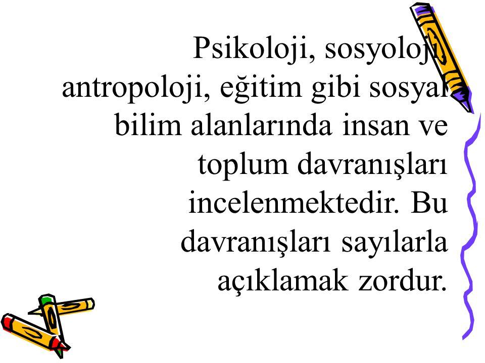 Psikoloji, sosyoloji, antropoloji, eğitim gibi sosyal bilim alanlarında insan ve toplum davranışları incelenmektedir.