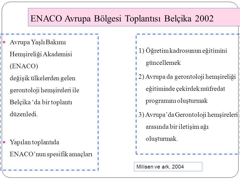 ENACO Avrupa Bölgesi Toplantısı Belçika 2002 Avrupa Yaşlı Bakımı Hemşireliği Akademisi (ENACO) değişik ülkelerden gelen gerontoloji hemşireleri ile Belçika 'da bir toplantı düzenledi.