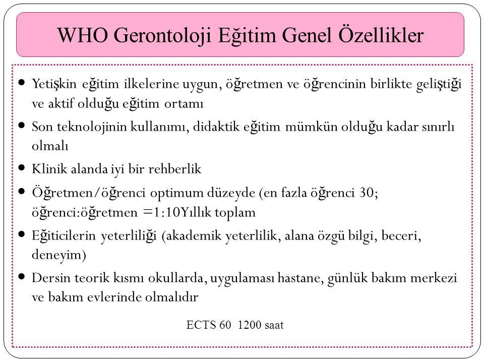 WHO Gerontoloji Eğitim Genel Özellikler Yeti ş kin e ğ itim ilkelerine uygun, ö ğ retmen ve ö ğ rencinin birlikte geli ş ti ğ i ve aktif oldu ğ u e ğ