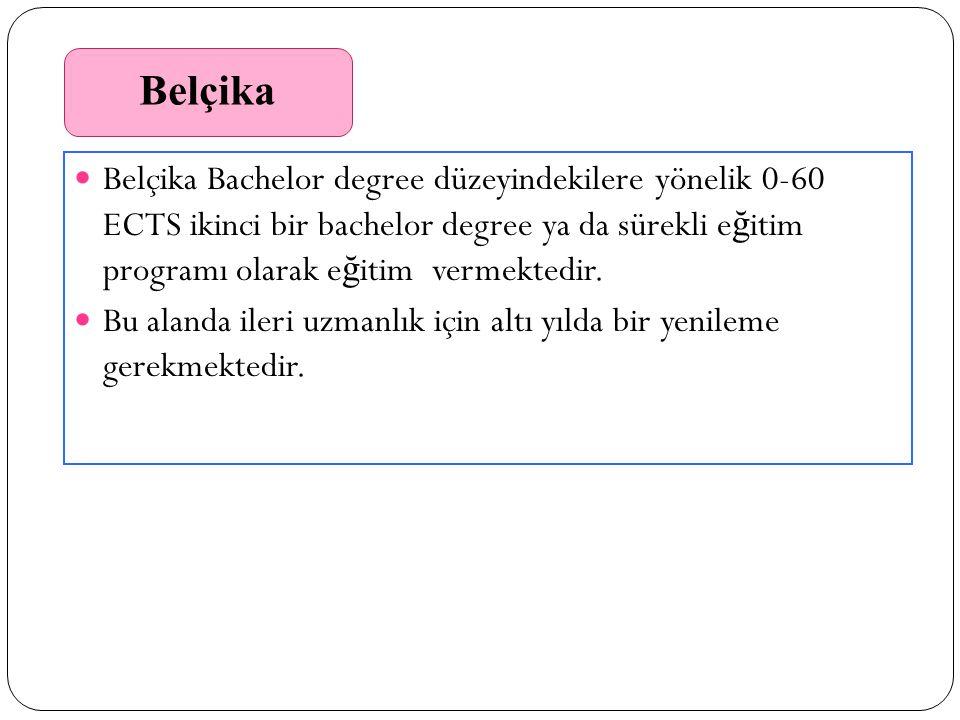 Belçika Belçika Bachelor degree düzeyindekilere yönelik 0-60 ECTS ikinci bir bachelor degree ya da sürekli e ğ itim programı olarak e ğ itim vermektedir.