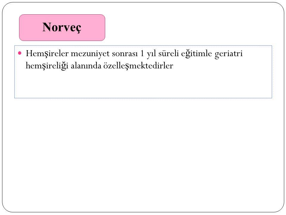 Norveç Hem ş ireler mezuniyet sonrası 1 yıl süreli e ğ itimle geriatri hem ş ireli ğ i alanında özelle ş mektedirler Norveç