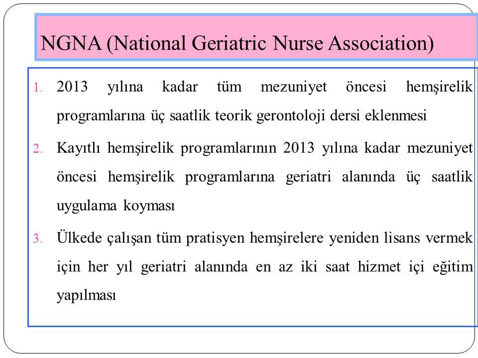 NGNA (National Geriatric Nurse Association) 1. 2013 yılına kadar tüm mezuniyet öncesi hemşirelik programlarına üç saatlik teorik gerontoloji dersi ekl