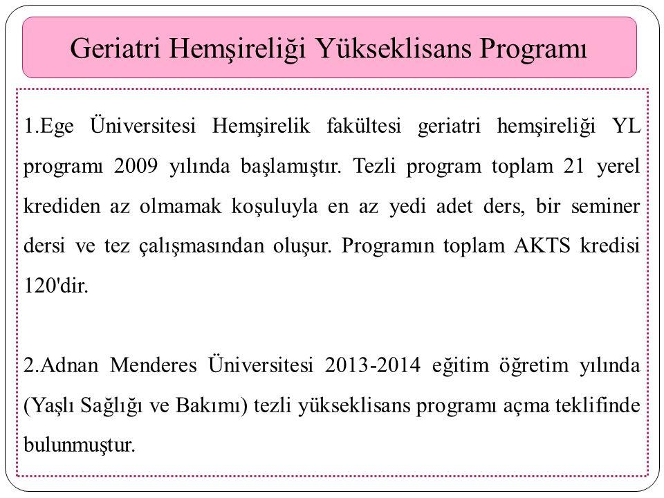 Geriatri Hemşireliği Yükseklisans Programı 1.Ege Üniversitesi Hemşirelik fakültesi geriatri hemşireliği YL programı 2009 yılında başlamıştır. Tezli pr