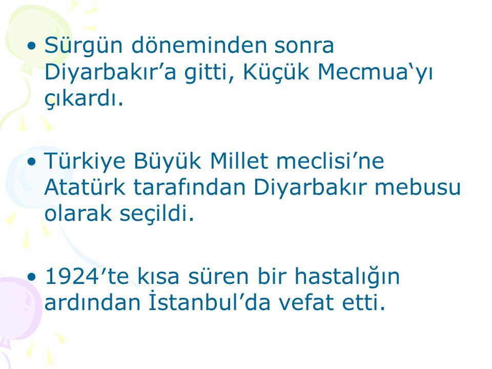 Sürgün döneminden sonra Diyarbakır'a gitti, Küçük Mecmua'yı çıkardı. Türkiye Büyük Millet meclisi'ne Atatürk tarafından Diyarbakır mebusu olarak seçil