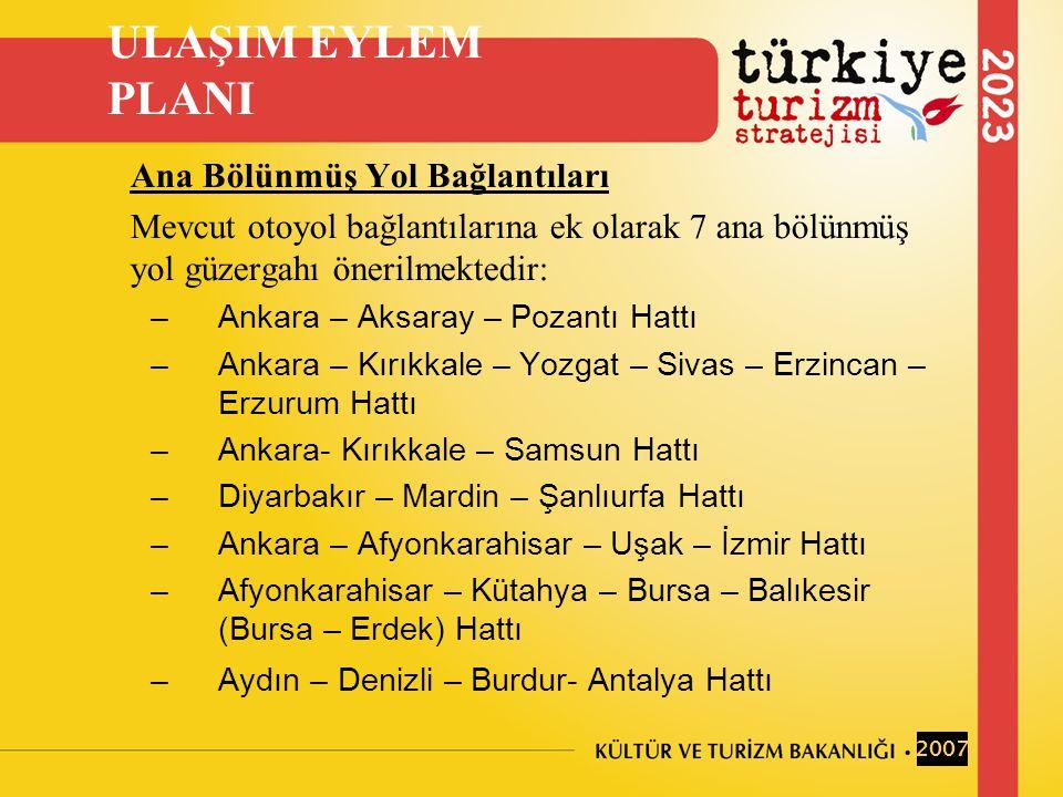 Ana Bölünmüş Yol Bağlantıları Mevcut otoyol bağlantılarına ek olarak 7 ana bölünmüş yol güzergahı önerilmektedir: –Ankara – Aksaray – Pozantı Hattı –Ankara – Kırıkkale – Yozgat – Sivas – Erzincan – Erzurum Hattı –Ankara- Kırıkkale – Samsun Hattı –Diyarbakır – Mardin – Şanlıurfa Hattı –Ankara – Afyonkarahisar – Uşak – İzmir Hattı –Afyonkarahisar – Kütahya – Bursa – Balıkesir (Bursa – Erdek) Hattı –Aydın – Denizli – Burdur- Antalya Hattı ULAŞIM EYLEM PLANI 2007