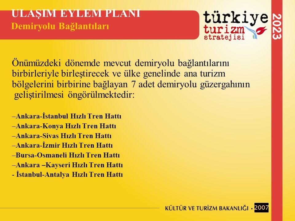 Önümüzdeki dönemde mevcut demiryolu bağlantılarını birbirleriyle birleştirecek ve ülke genelinde ana turizm bölgelerini birbirine bağlayan 7 adet demiryolu güzergahının geliştirilmesi öngörülmektedir: –Ankara-İstanbul Hızlı Tren Hattı –Ankara-Konya Hızlı Tren Hattı –Ankara-Sivas Hızlı Tren Hattı –Ankara-İzmir Hızlı Tren Hattı –Bursa-Osmaneli Hızlı Tren Hattı –Ankara –Kayseri Hızlı Tren Hattı - İstanbul-Antalya Hızlı Tren Hattı ULAŞIM EYLEM PLANI Demiryolu Bağlantıları 2007
