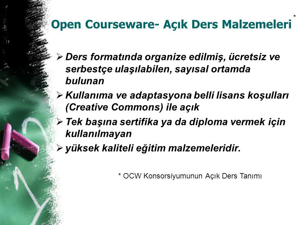 Open Courseware- Açık Ders Malzemeleri  Ders formatında organize edilmiş, ücretsiz ve serbestçe ulaşılabilen, sayısal ortamda bulunan  Kullanıma ve
