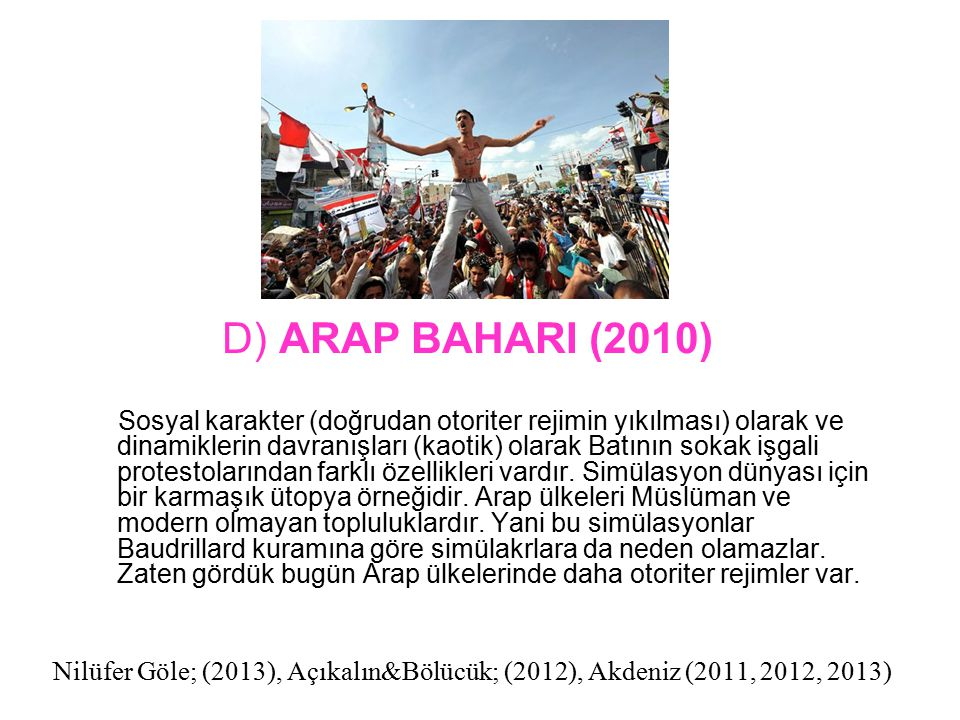 Nilüfer Göle; (2013), Açıkalın&Bölücük; (2012), Akdeniz (2011, 2012, 2013) Sosyal karakter (doğrudan otoriter rejimin yıkılması) olarak ve dinamikleri
