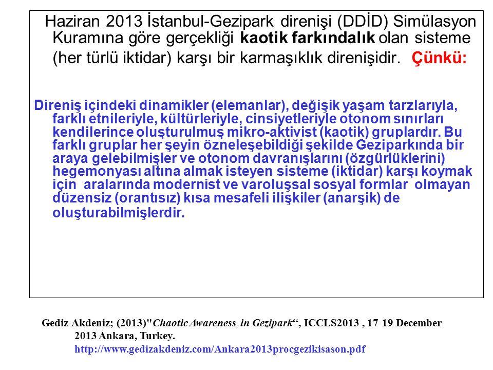 Haziran 2013 İstanbul-Gezipark direnişi (DDİD) Simülasyon Kuramına göre gerçekliği kaotik farkındalık olan sisteme (her türlü iktidar) karşı bir karma