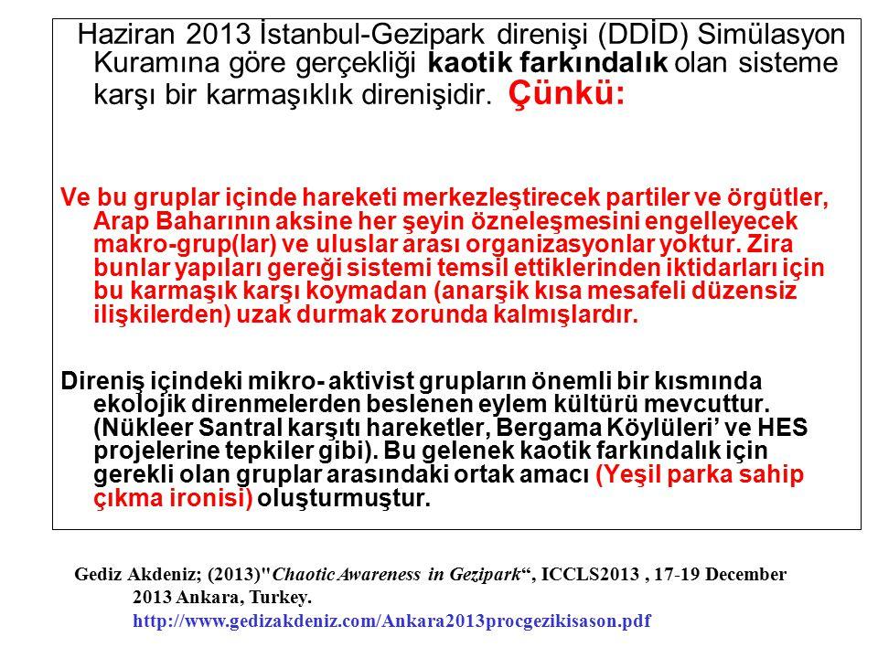 Haziran 2013 İstanbul-Gezipark direnişi (DDİD) Simülasyon Kuramına göre gerçekliği kaotik farkındalık olan sisteme karşı bir karmaşıklık direnişidir.