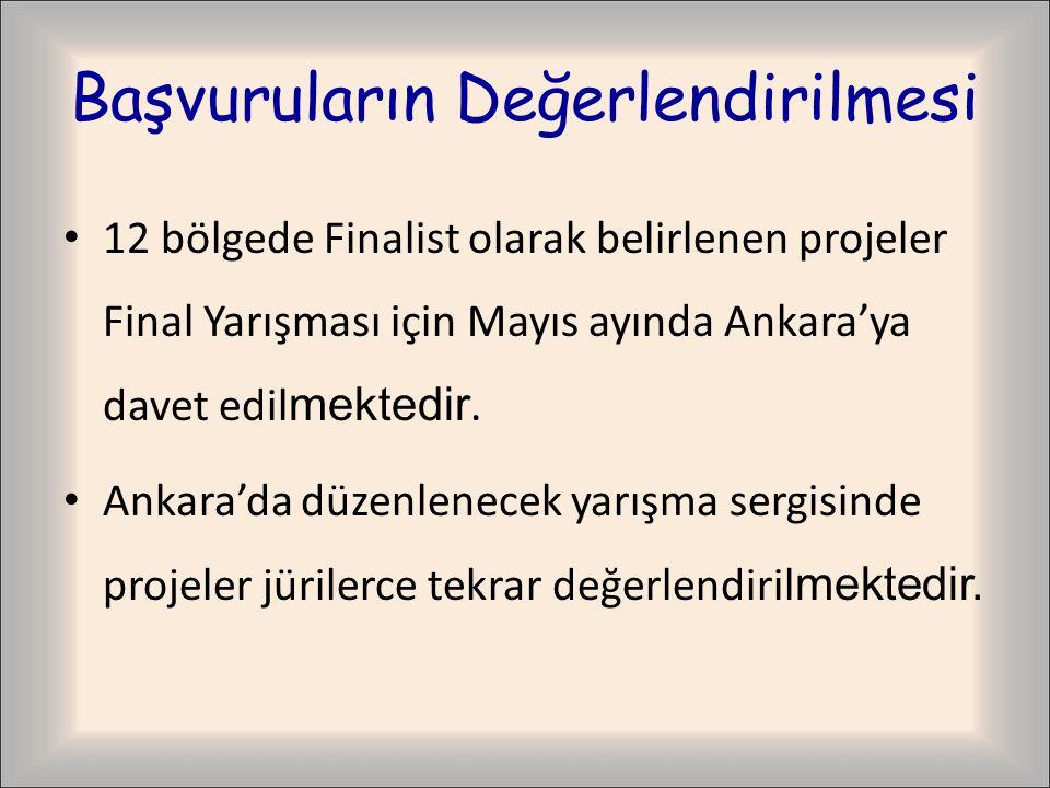 Başvuruların Değerlendirilmesi 12 bölgede Finalist olarak belirlenen projeler Final Yarışması için Mayıs ayında Ankara'ya davet edil mektedir.